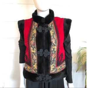 VTG Russian Style Cossack Wool Vest Red M faux fur